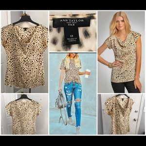 Ann Taylor Silk Animal Print Short Blouse Top  0